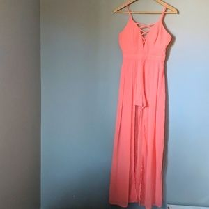3/$25 Seductions by Sirens Coral Maxi Dress S